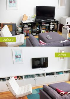 I like the idea of a row of built-in cupboards in place of an entertainment center.