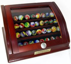 Glass Marbles   Curved Glass Marble Display Chest and Marble Display Case