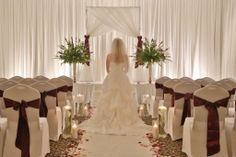 Romantic Indoor Wedding Ceremony with Fabric Draping