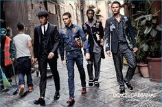 Models Zhao Lei, Federico Spinas, Adonis Bosso and Nathaniel Visser take to the streets of Naples for Dolce & Gabbana's fall-winter 2016 campaign.