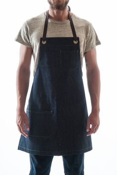 The Reggie Bib Apron is our classic bib style. Full coverage, with adjustable straps tied at neck and waist. Jean Apron, Bib Apron, Apron Diy, Custom Aprons, Aprons For Men, Denim Crafts, Patchwork Jeans, Recycle Jeans, Sewing Aprons