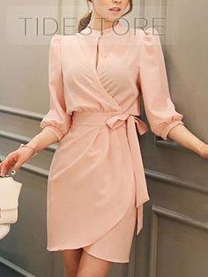 Elegant High Neckline Long Sleeve Short Dress