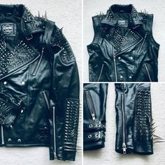HANDMADE Long Spiked Studded Leather Jacket and Vest Two in One Removable Sleeves Mens Full Black Punk Silver Buttons Up Jacket Silver Studs and Spikes Black Leather Made to Orders Jacket and Vest in One Removable sleeves Leather Kilt, Studded Leather Jacket, Biker Leather, Black Leather, Leather Jackets, Cowhide Leather, Real Leather, Steam Punk, Heavy Metal Fashion