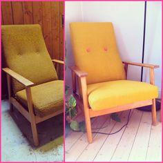 DIYPIG: DIY: Trekk om en lenestol Diy Furniture Chair, Accent Chairs, Home Decor, Design, Craft Ideas, Upholstered Chairs, Decoration Home, Room Decor