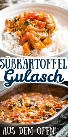 Geniales Süßkartoffelgulasch aus dem Ofen This sweet potato goulash is just super delicious! You only have to do a bit of sniping at the beginning … Goulash, Healthy Soup Recipes, Potato Recipes, Vegetarian Recipes, Healthy Protein, Protein Salat, Food Cravings, Food Inspiration, Sweet Potato