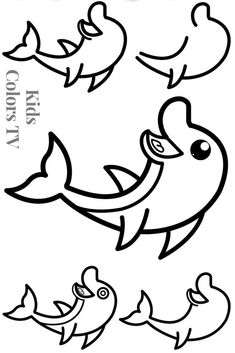 Step by Step Drawing Dolphin | Easy Drawings Dolphin | Learn Drawing Dolphin Coloring Pages for Kids