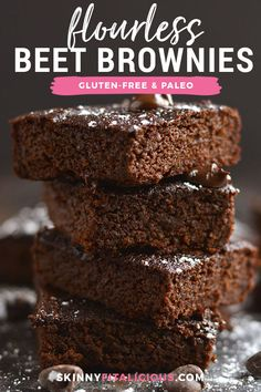 Made secretly healthy with beets, these brownies are rich, dark and chocolatey. Exactly the way brownies are meant, only healthier and a weight loss friendly recipe! Gluten Free + Low Calorie + Paleo Red Velvet Be Paleo Brownies, Chocolate Avocado Brownies, Blueberry Crumble Bars, Strawberry Oatmeal Bars, Quick Healthy Desserts, Great Desserts, Beet Recipes Healthy, Sin Gluten, Gluten Free