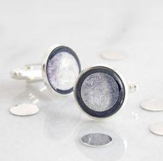 Personalised Moon Phase cufflinks featuring the moon phase that was visible on your special date, past and future