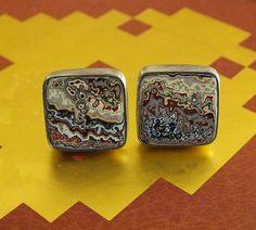 Amazing Fordite Cufflinks Oxidized Sterling Silver Cuff Links James Blanchard on Etsy, $225.00