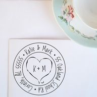 Medium Heart Monogram Address Stamp by purplelemondesigns on Etsy