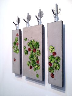 Mixed media sculptures.   B. Walker Marshland Trio 2013 Bethany Walker interview: Cement & textiles
