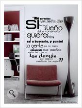 """Vinilo decorativo Flor4u®.  Textos personalizados. Modelo """"Sueños"""" www.flor4u.com"""