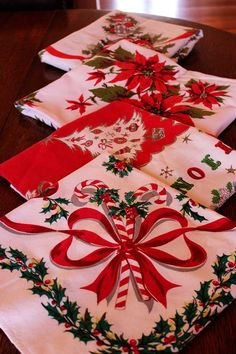 Kitschy holiday tablecloths.