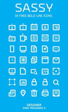 "35 Free Bold Line Icons - ""SASSY"" - 365psd"