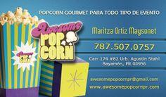 Tarjetas de presentación Awesome Popcorn, Bayamón, Puerto Rico.