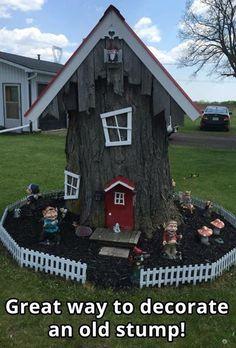 Fairytale Garden Decor Ideas Fairy Decorations Add Enchantment to Homes and Gardens Fairytale Garden Decor Ideas. Fairy Tree Houses, Fairy Garden Houses, Gnome Garden, Garden Trees, Fairies Garden, Diy Garden, Fairytale Garden, Gnome House, Gnome Tree Stump House