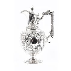 A magnificent English Victorian silver-plated claret jug, bearing the makers' mark of the renowned silversmiths Walker and Hall. George Walker, North London, Family Crest, Crests, Makers Mark, Silver Plate, Initials, Plating, Victorian