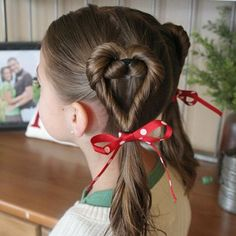 Double Twist Hearts-Valentine's Day Hairstyles for Girls
