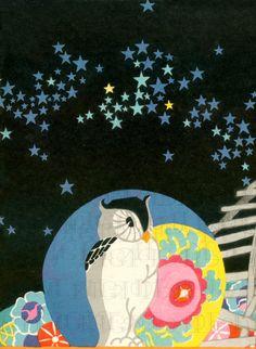 Stunning Art Deco OWL Under The STARS by DandDDigitalDelights