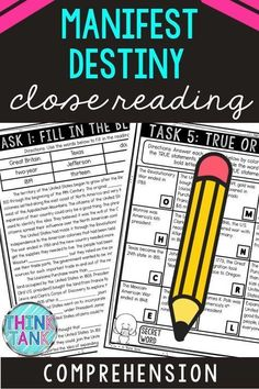 Ensure understanding with this Manifest Destiny Close Reading Comprehension Challenge. Students will examine the reading passage multiple times to complete each of the six tasks using the non-fiction, informational text. #ManifestDestiny #ThinkTank #USHistory #ReadingComprehensionTasks #ReadingPassages #4thgrade #5thgrade #6thgrade #CloseReading #MiddleSchool #UpperElementary 4th Grade Ela, 5th Grade Reading, Reading Passages, Reading Comprehension, Close Reading Activities, Classroom Activities, Ela Classroom, Writing Activities, Middle School History