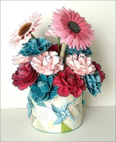 Flower Bouquet.. made with punches from Stampin'Up - punch art -