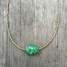 Green turquoise necklace with small African brass by SirenaHome