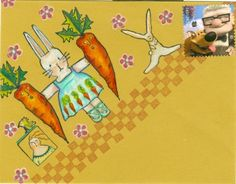 Bunny & Carrot envelope by Debra Valoff/ Rubbermoon stamps