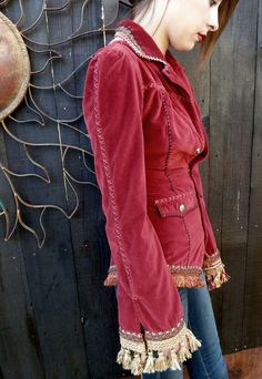 Upcycled Red Cotton Velvet Jacket, Steampunk, Holiday Jacket, Bohemian, Victorian Style Steampunk Clothing, Recycled, Haute Couture,OOAK. $195.00, via Etsy.
