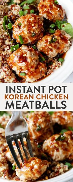 Instant Pot Korean Chicken Meatballs. This Korean bbq meatballs recipe is lightened up with ground chicken and is a fast meal thanks to the pressure cooker. Add this to your Instant Pot recipes list.