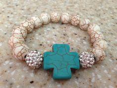 Cream beaded bracelet with rhinestone by ShellyBrennanDesigns, $18.00