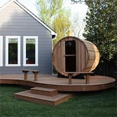 Western Red Cedar Barrel Wet Sauna by Almost Heaven Saunas Indoor or Outdoor, Heater, Red Cedar Heater Guard, Tempered and Tinted Full Glass Door Barrel Sauna, Sauna Design, Outdoor Sauna, Highland Homes, Backyard Sheds, Western Red Cedar, Garden Seating, Wood Creations, Maine House