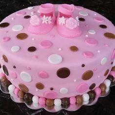 Polka dot baby shower cake #girl #babyshower #booties #pink Polka Dot, Dots, Baby Shower Cakes, Babyshower, Birthday Cake, Sugar, Desserts, Pink, Stitches