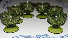 Set-of-6-Vintage-Indiana-Glass-Avocado-Green-Whitehall-Cubist-Footed-Sherbets