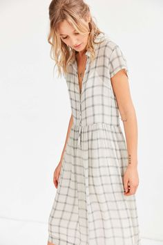 Cooperative Allie Sheer Midi Shirt Dress - Urban Outfitters