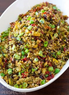 Quinoa Lentil Salad with Crispy Roasted Brussels Sprouts