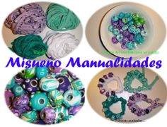 Cuatro pasos en imagenes para llegar a pulseras de trapillo con cuentas de Fimo tipo beads.  www.misuenyo.com / www.misuenyo.es