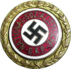 The Nazi Golden Party Badge. Awarded to the first 100,000 members of the Nazi Party and certain other limited categories of people.