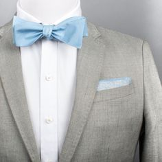 Color: Light Blue Pattern: Solid Measures: Fabric: Silk Self-tie Grey Blue Suit, Light Blue Bow Tie, Grey Tux, Blue Suits, Baby Blue Dresses, Light Blue Dresses, Quince Dresses, Formal Dresses, Light Blue Quinceanera Dresses