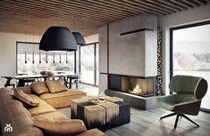 Bielsko - Biała - Duży salon z jadalnią z tarasem / balkonem, styl nowoczesny - zdjęcie od razoo-architekci