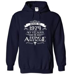 Made In 1974 - 40 Years Of Being Awesome !!! - #pocket tee #disney sweater. MORE ITEMS => https://www.sunfrog.com/Birth-Years/Made-In-1974--40-Years-Of-Being-Awesome--NavyBlue-Hoodie.html?68278