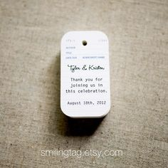 Wedding Favor Tags  Vintage Library Card Inspired by SmilingTag