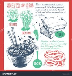 Sketchbook With Asian Traditional Products. Chinese Food In The Sketch Style. Vector Illustration Of Ethnic Cooking: Noodles, Soy Sauce, Tofu, Shimeji, Enokitake. - 441625657 : Shutterstock