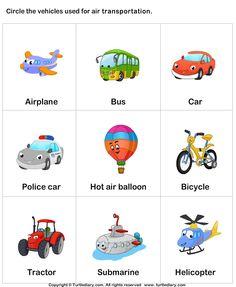 Avião, autocarro, carro, carro da polícia, balão de ar quente, biciceta, trator, submarino, helicóptero