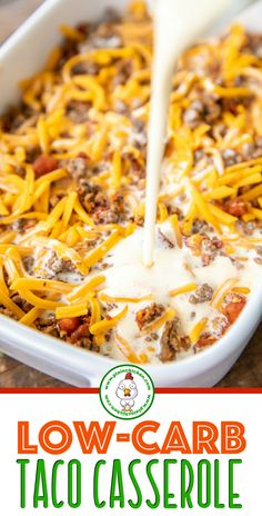 Low Carb Taco Casserole - Low Carb Taco Casserole – low on carbs but high on . Low Carb Taco Casserole - Low Carb Taco Casserole – low on carbs but high on taste! Everyone cleaned their plate a - beef recipes healthy Taco Casserole Low Carb, Low Carb Casseroles, Casserole Recipes, Low Carb Breakfast Casserole, Low Carb Breakfast Easy, Ground Beef Casserole, Diet Breakfast, Low Carb Tacos, Crock Pot Recipes