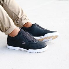 "65f89fc2c SOLEMATE® on Instagram  "" Lacoste Indiana Where sport meet vintage in a  steezy design. These  lacostelive sneakers come in char black leather  upper"