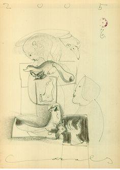 """Zeichnung """"Ohne Titel"""", 2005, 21 x 29,5, Mischtechnik auf beige Papier, 250,- EURO, Anfragen an Werkeverwaltung Cazals - Britta Kremke, b.kremke@kremke.de, Tel. 038722-227-14"""