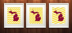 Mt Pleasant Michigan University Glicée Print  by PaintedPost, $37.00 #paintedpoststudio - Central Michigan University - Chippewas- What a great and memorable gift for graduation, sorority, hostess, and best friend gifts! Also perfect for dorm decor! :)