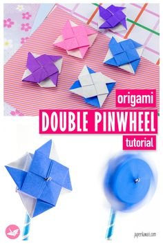 Learn how to make a special origami pinwheel with a pinwheel on both sides. It will spin in both directions! Made from 1 sheet of square paper, no glue or cutting required. Origami Swan, Origami Butterfly, Origami Box, Origami Flowers, Origami Easy, Origami Paper, Diy Paper, Pinwheel Tutorial, Origami Tutorial