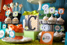 Awesome party pics! This is a great idea for a boy baby shower, but colors and theme could be used for so many different parties!