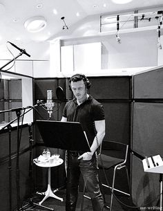Luke Evans - Getting his Gaston on - Recording for Beauty and the Beast